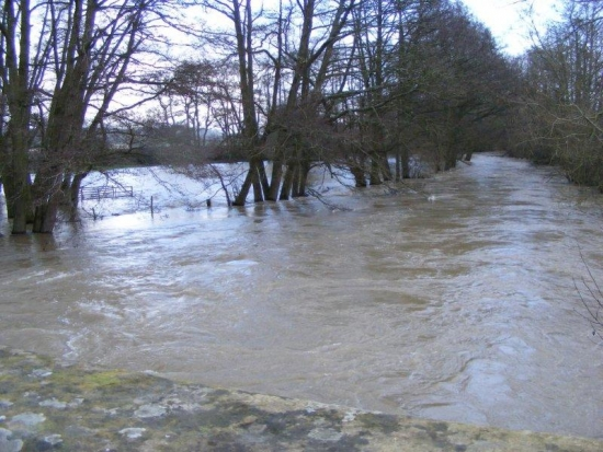 River Lugg in full flood Feb 9th 2014