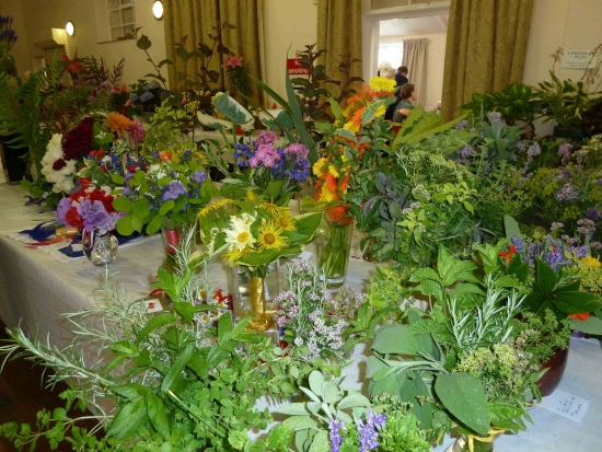 Tables full to bursting with flower and herb arrangements