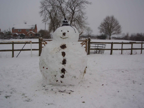 Snowman Built by Villagers