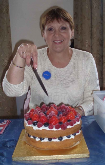 Jubilee Celebrations (June 2012): Cutting a wonderful Jubilee Cake at the Coronation Hall\\\'s lunchtime picnic