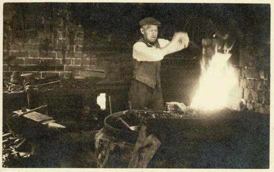 Mr William G Lewis in the blacksmiths at Jubilee Wagon Works dated 1947; courtesy of the Markham family