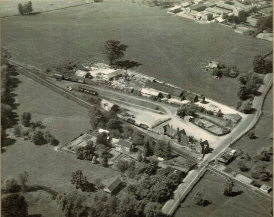Aerial view of Kingsland railway station and Kingsland Sawmills; courtesy of the Markham family